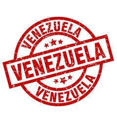 Venezuela red round grunge stamp vector
