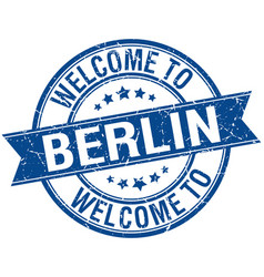 Welcome to berlin blue round ribbon stamp vector
