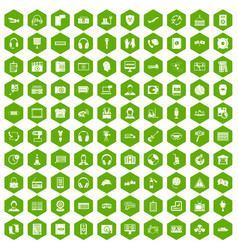 100 headphones icons hexagon green vector