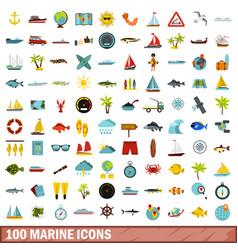 100 marine icons set flat style vector image vector image