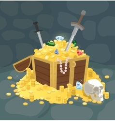 Treasure chest with golden coins skull and swords vector