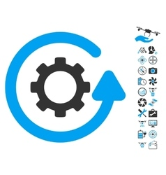 Gearwheel rotation direction icon with air drone vector