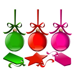 Christmas balls with tags vector