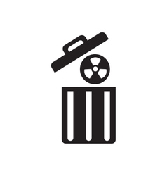 Flat icon in black and white radioactive waste vector