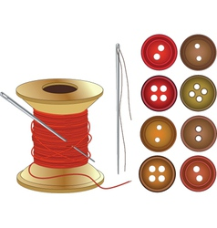 Needle coil of red threads and buttons vector