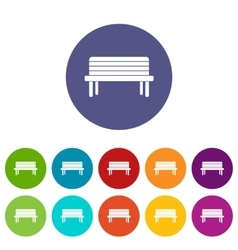 Street bench set icons vector