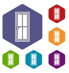 Glass door icons set vector