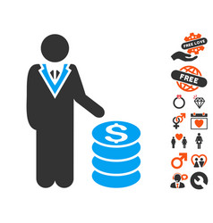 Businessman icon with lovely bonus vector