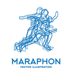 Running people marathon concept vector