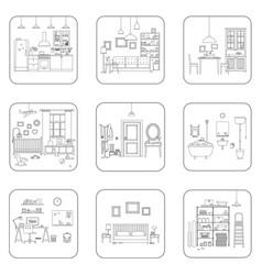 line interior rooms vector image