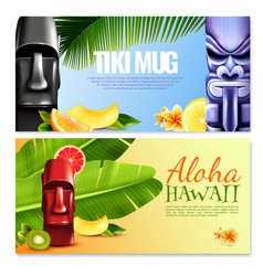 Hawaiian party horizontal banners vector