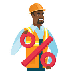 African-american builder holding percent sign vector