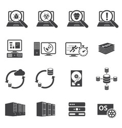 Big data icons set software development vector