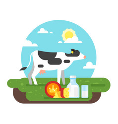 Cow graze in a field and dairy products vector