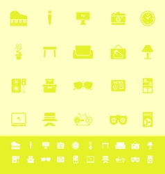 Living room color icons on yellow background vector