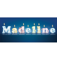 Madeline written with burning candles vector