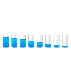 Chemical beakers with gradation of blue solution o vector