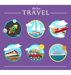 Icons set of traveling planning a summer vacation vector