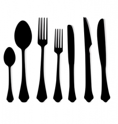 tablespoons, forks and knives vector image