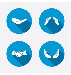 Hand icons handshake and insurance symbols vector