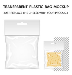 Transparent plastic bag mockup ready for your vector