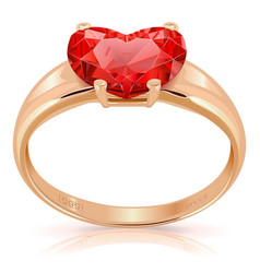 Golden ring with ruby vector