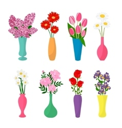 Flowers in vases flower pots icons vector