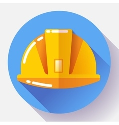 Orange construction worker helmet icon flat vector