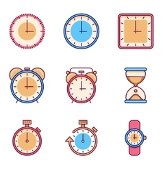 Alarm clock timer watch flat icons vector