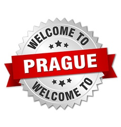 Prague 3d silver badge with red ribbon vector