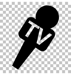 Tv microphone sign  flat style black vector