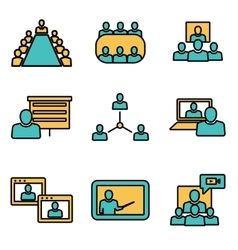 line conference icons set Business vector image