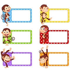 Square labels with funny monkeys vector image