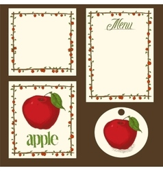 Apple menu pages card and tag design set vector