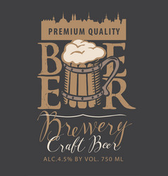 beer label with old town and full wooden mug vector image vector image