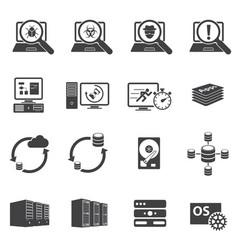 Big data icons set software development vector