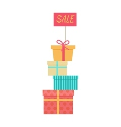Big pile of wrapped gift boxes sale concept vector