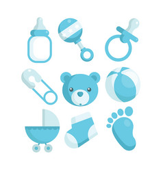 blue baby shower icons vector image