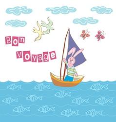 Bon voyage cartoon vector