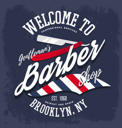 branding sign or insignia for barber shop vector image vector image