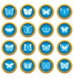 butterfly icons blue circle set vector image