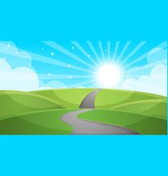 cartoon landscape - road vector image vector image