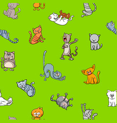 Cartoon wallpaper design with cats vector
