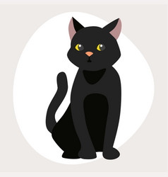 cat breed cute pet black portrait fluffy young vector image