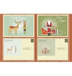 Christmas set of a postcards vector
