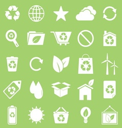 Ecology icons on green background vector image