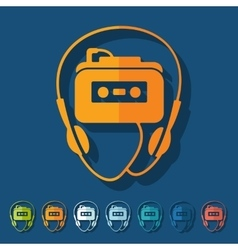 Flat design music player vector image vector image