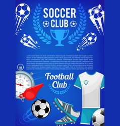 Football sport club banner with soccer ball items vector