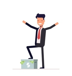 Happy businessman or manager standing on a carton vector image vector image