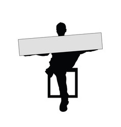man silhouette sitting with card vector image